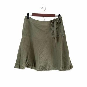 Ann Taylor Flounce Faux Lace-Up Skirt 8 Linen